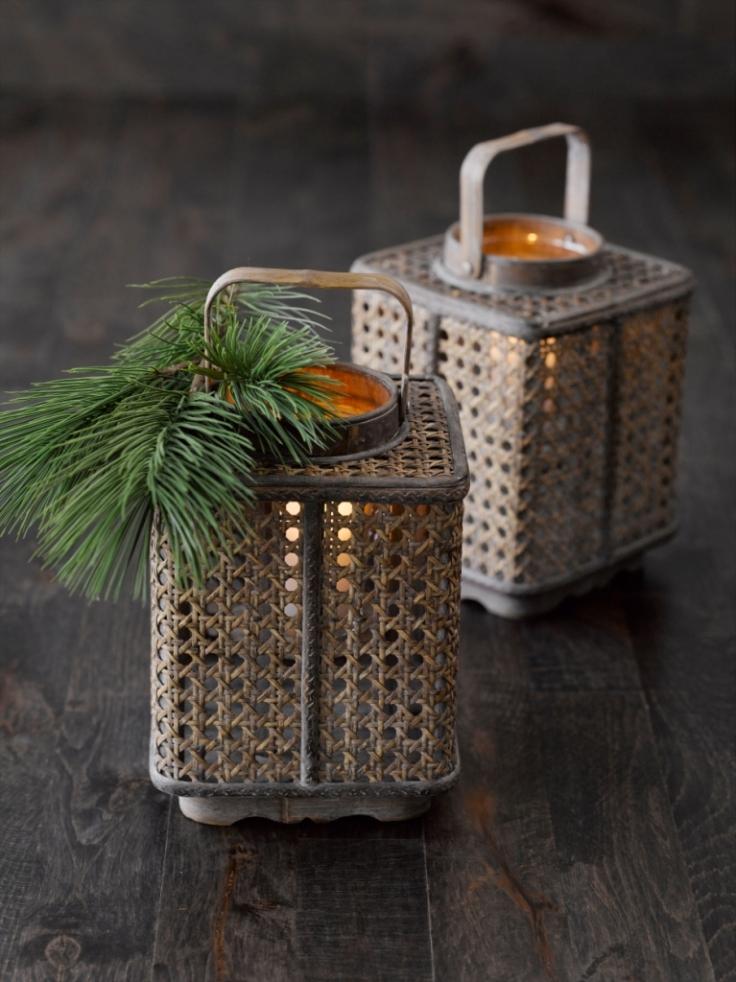 Lampiony z plecionki rattanowej - Villa Collection