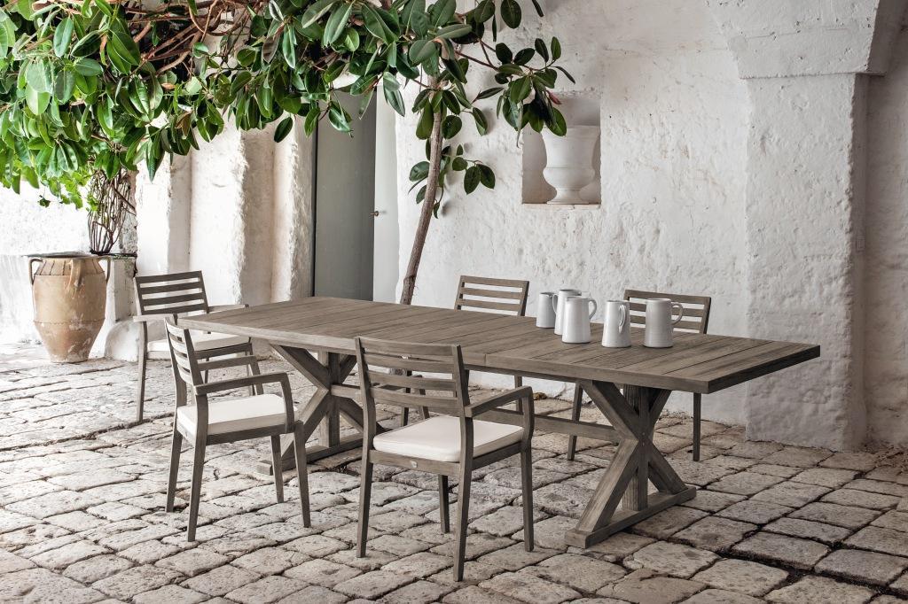 Meble Ogrodowe Drewniane Design : CRONOS stół teakowy z krzesłami STELLA Pickled Teak